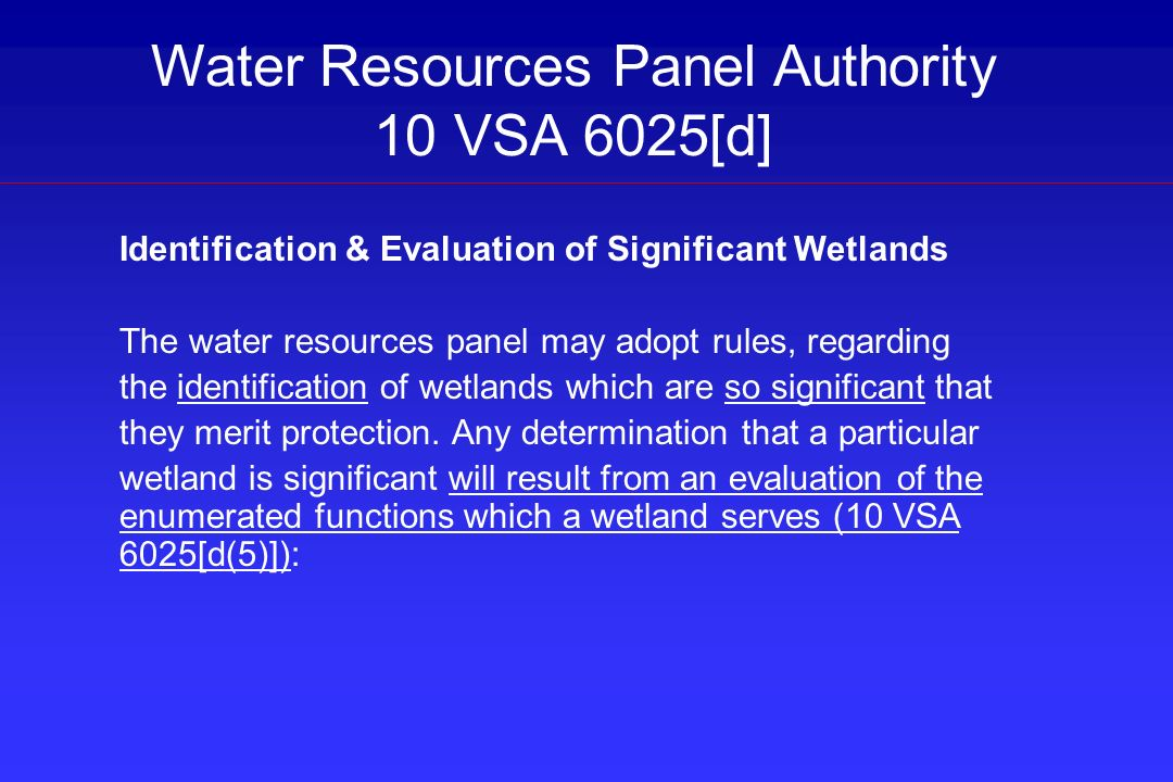 Water Resources Panel Authority 10 VSA 6025[d]